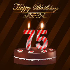 75 year Happy Birthday Card with cake and candles