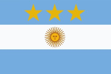 Argentine flag with three stars