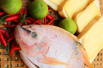 Fresh fish in the basket - for cooking.
