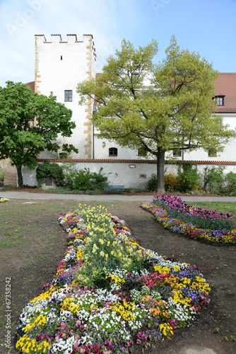 canvas print picture Blumen am Zeughaus in Amberg
