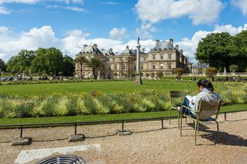 Parisian reading a book , Luxembourg Garden(Jardin du Luxembourg