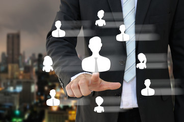 Business man pointing people icon of human resources