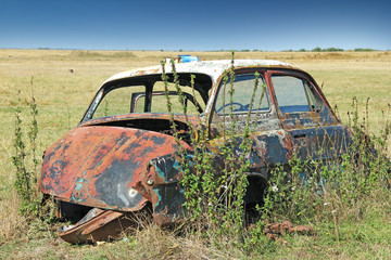 Wreck car in a field, overgrown with weeds and forgotten