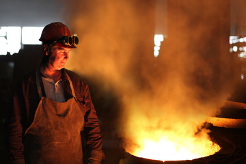 Industrial worker in a foundry