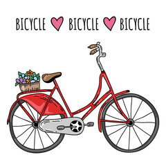 Cute vector hand drawn bicycle with basket and flowers