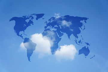 world map with a blue sky
