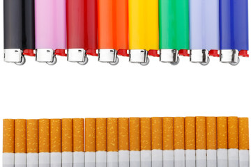 colored lighters and cigarettes