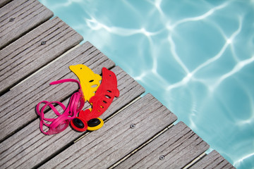 Swimming pool equipment summer concept