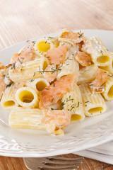Salmon pasta.