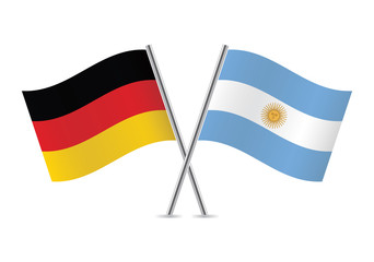 Germany and Argentina flags. Vector illustration.