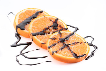 orange wire wheels with molten chocolate