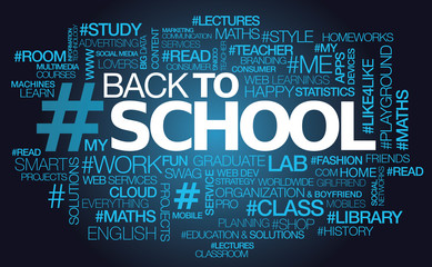 Back to school text hashtag blue words tag cloud illustration
