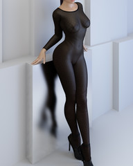 Siamese woman wearing stockings