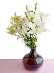 posy of yellow lilies