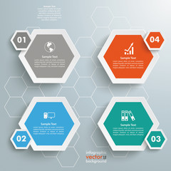 4 Colored Hexagons Background
