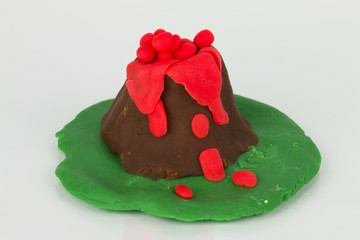Volcano from children bright plasticine