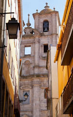 Belltower of old church in the city of Porto, Portugal