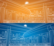 Day and night city, lines overpass, vector bridge, vector design