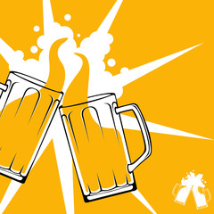 Beer toast flat design vector concept