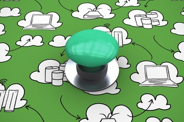 Composite image of digitally generated green push button