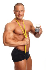 Muscular man shows a meter and calculator
