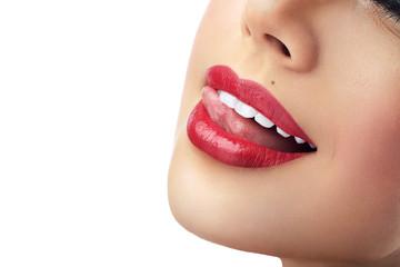 lips and tongue beautiful girl