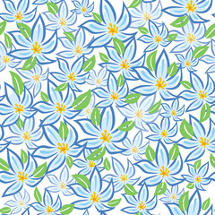 Blue flowers with green leafs background