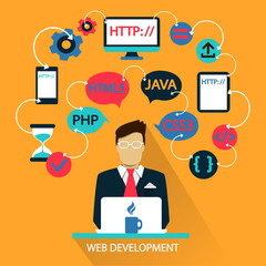 Flat design . Freelance career. Web development.