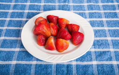 Whole Strawberries on White Plate