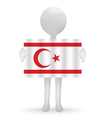 3d man holding a Turkish Cyprus Flag