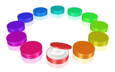 Kreis aus farbenfrohen Cremedosen