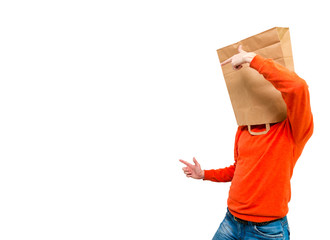 Man in paper bag on head.