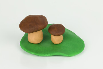 Mushroom from children bright plasticine
