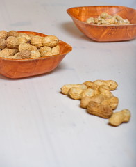 Peanuts in a brown bowl