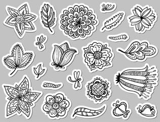 floral doodle tags