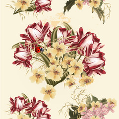 Beautiful seamless wallpaper pattern with tulip flowers
