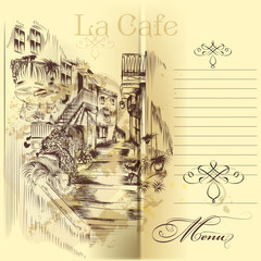 Cafe menu design with hand drawn street