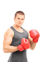 Man with boxing gloves posing on white background