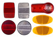 Bicycle reflectors isolated on white background