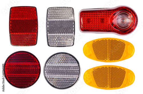 Bicycle reflectors isolated on white background - 67365811