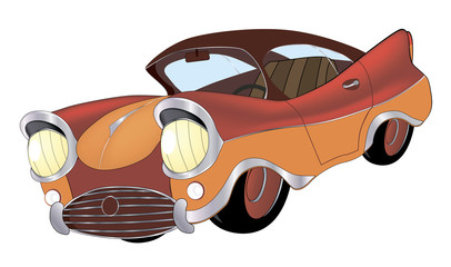 a red toy car cartoon