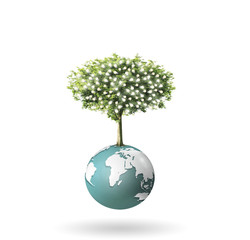 Small peaceful green planet ,tree on globe