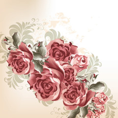Fashion background with roses in retro style