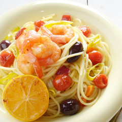 Seafood spaghetti pasta dish with shrimps