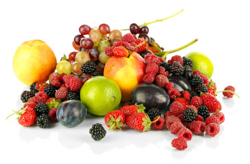 Assortment of juicy fruits and berries, isolated on white