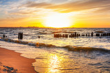 Sunset on the beach at Baltic Sea in Poland - 67367059