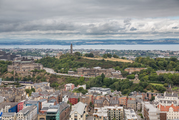 Wide view of Carlton hill in Edinburgh
