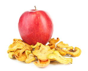 Dried apples and fresh apple, isolated on white