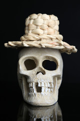 Skull in funny wicker hat isolated on black