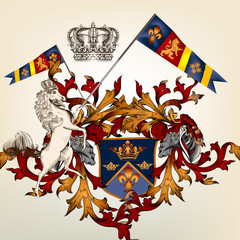 Heraldic design with coat of arms, horse and shield